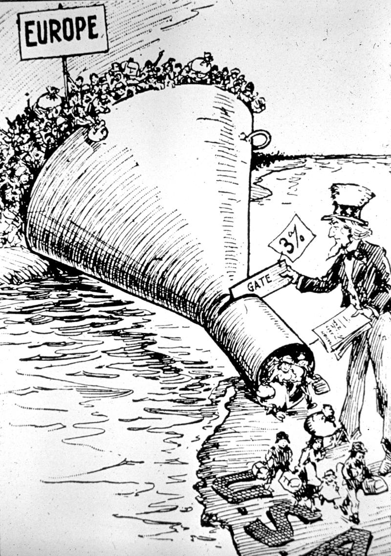 Political cartoon of Uncle Sam placing a 'gate' of 3% in a funnel of people representing European immigration.